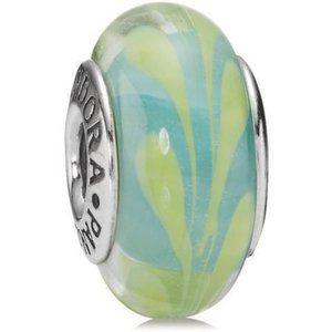 ✨Pandora Aqua and Green Swirl Glass Murano Bead